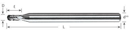 4 flute ball nose end mills (1835 series)